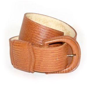 VTG 80s SAKS Fifth Ave WIDE Cognac Leather Belt XS